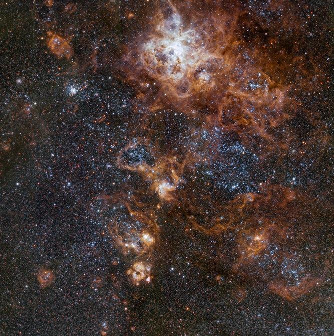 天文学家捕捉到宇宙中狼蛛星云的精美视角