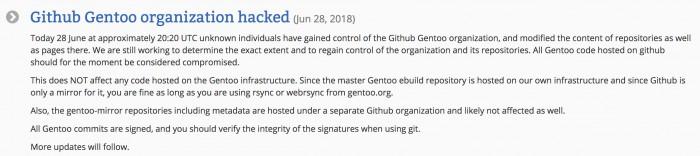 密码的锅:Gentoo发布GitHub仓库被黑客入侵事件报告
