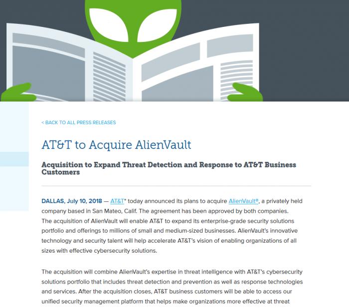 AT&T宣布收购网络安全初创企业AlienVault