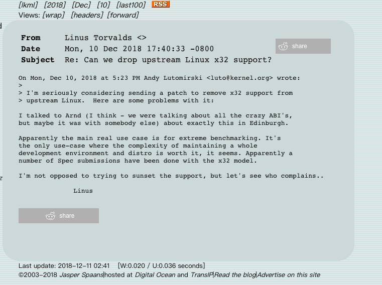 Linux内核开发人员正在讨论删除对 x32 的支持